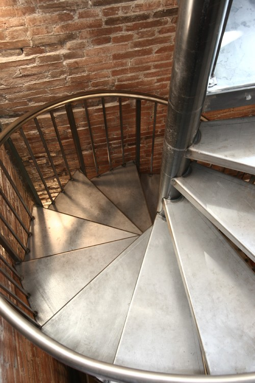 Brushed steel spiral stairs