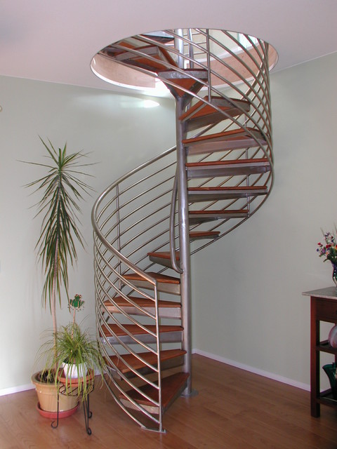 This is an example of a contemporary spiral staircase in Seattle.