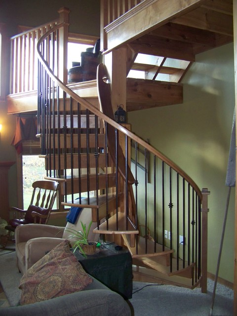 Spiral Stair To Family Room Catwalk Craftsman Staircase Other By Jerry Ray Stairbuilders