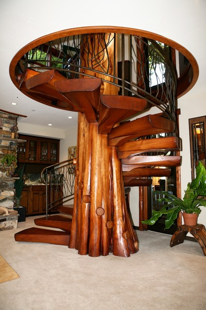 Spiral Staircase From Fallen Cedar Tree Eclectic Staircase
