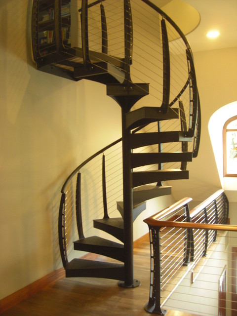 Spiral Stairs With Cable Railing Modern Staircase