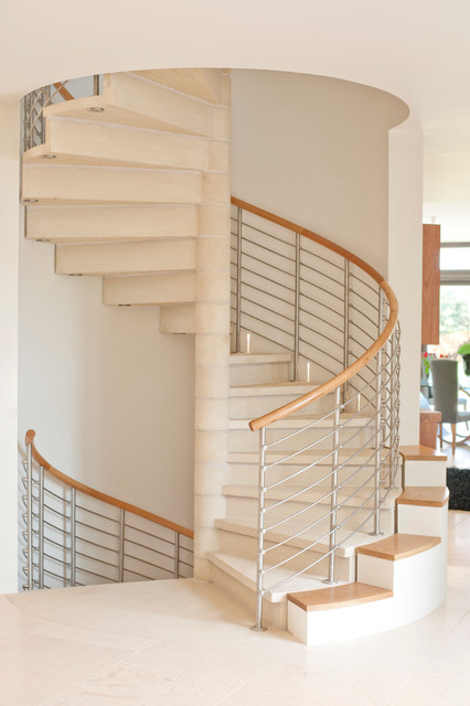 Spiral to Staircase to Wine Cellar contemporary-staircase