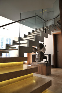 modern staircase by london general contractors elite metalcraft co ltd