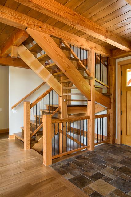 St Sixte Lake Timberframe Craftsman Staircase