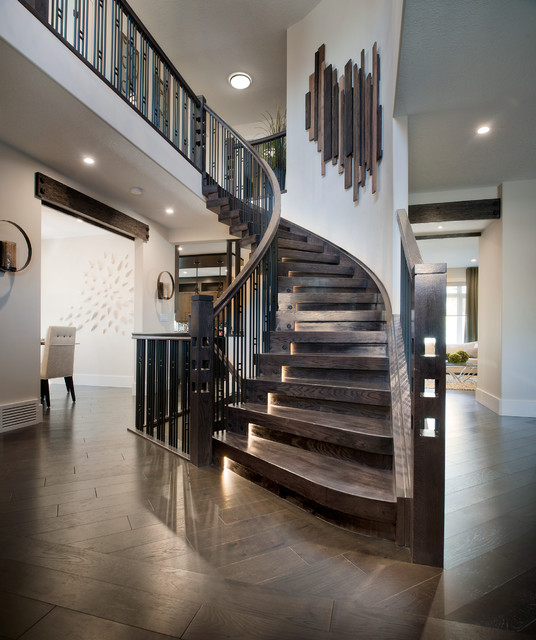 Stacked blocks style curved stair contemporary for Gorgeous modern staircase wall design