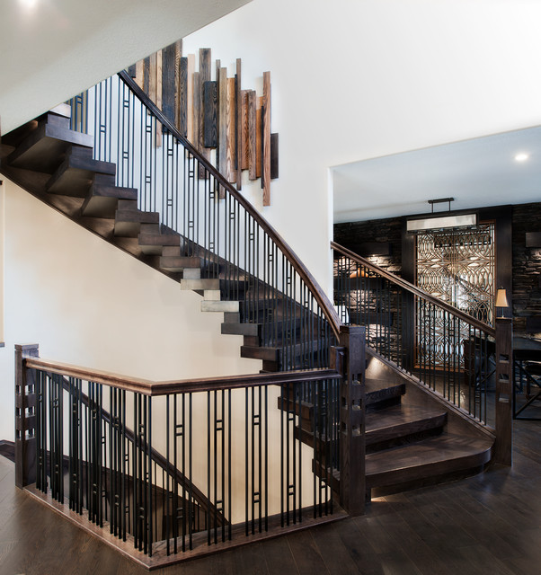 Stacked Blocks Style Curved Stair Contemporary Staircase