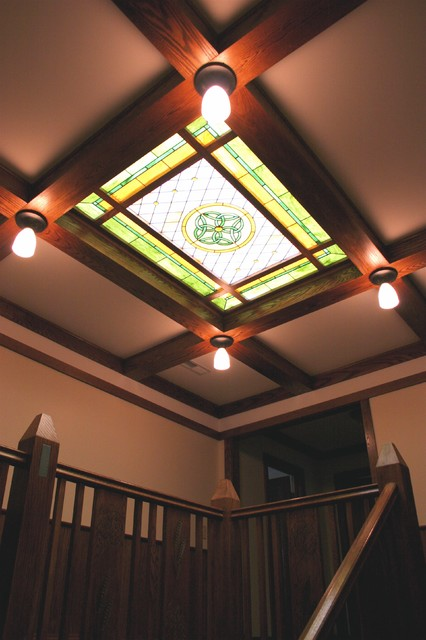 stained glass ceiling traditional staircase chicago