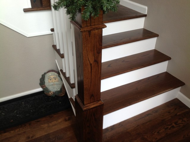 Stained Red Oak Traditional Staircase