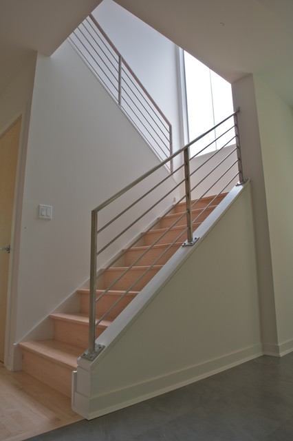 Stainless Railings Contemporary Staircase Chicago