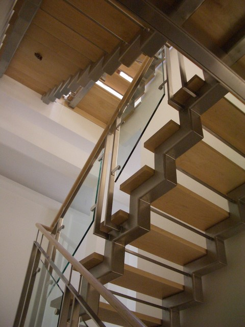 Stainless steel and glass stair system modern-staircase