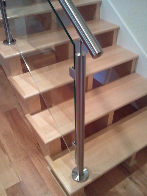 Stainless Steel and Glass contemporary-staircase
