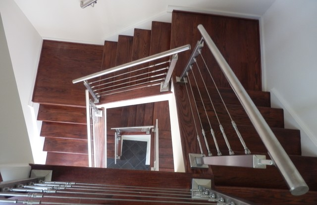 Stainless Steel Cable Rails With Oak Stairs Contemporary Staircase