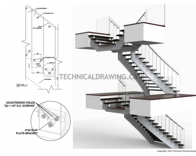 Stainless Steel Railing U0026 Staircase Shop Drawings Modern Staircase