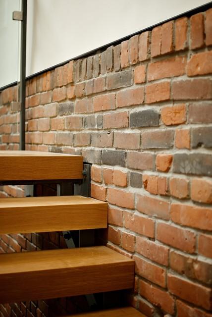 Stair + Brick Detail modern-staircase