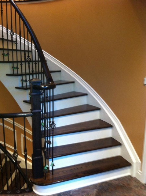 Stair Case Wrought Iron Pickets Stained Risers Painted