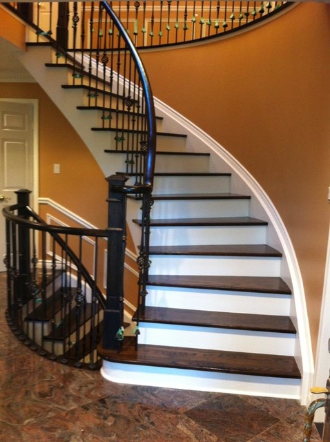 Stair Case Wrought Iron Pickets Stained Risers Painted Stringers Contemporary Staircase
