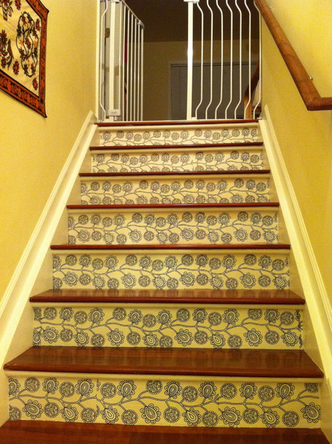 Stair risers with decals modern staircase