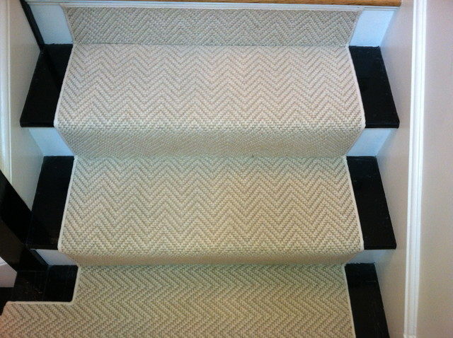 Stair Runner Install Boston, MA Contemporary Staircase