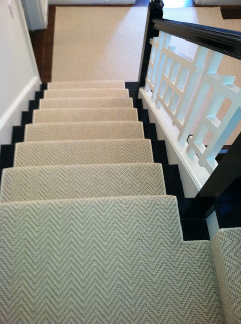 Stair Runner Install Boston, MA - Contemporary - Staircase - Boston - by The Carpet Workroom and ...