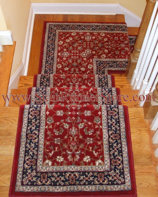 Stair Runner Landing Installation Traditional