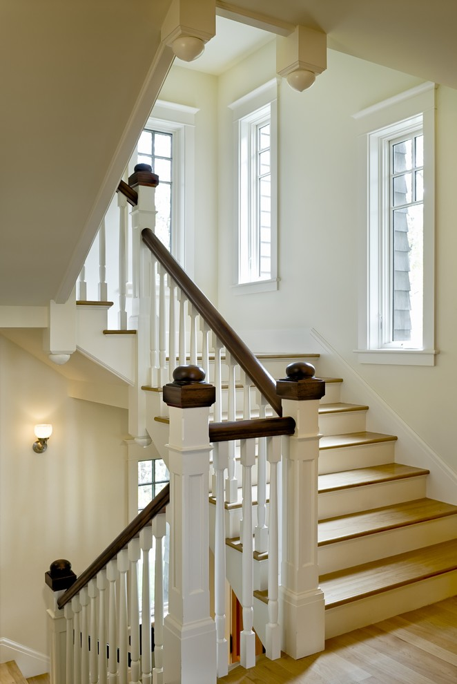 Inspiration for a timeless wooden staircase remodel in Burlington