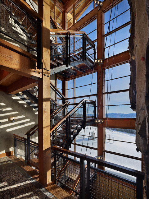 House Exterior Stair Tower : Stair tower with climbing wall industrial staircase