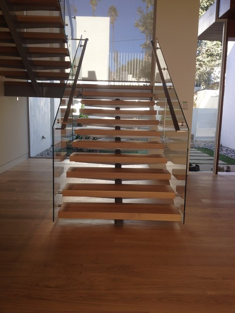 StairArt Glass And Stainless Steel On Floating Stairs Contemporary Staircase San Diego