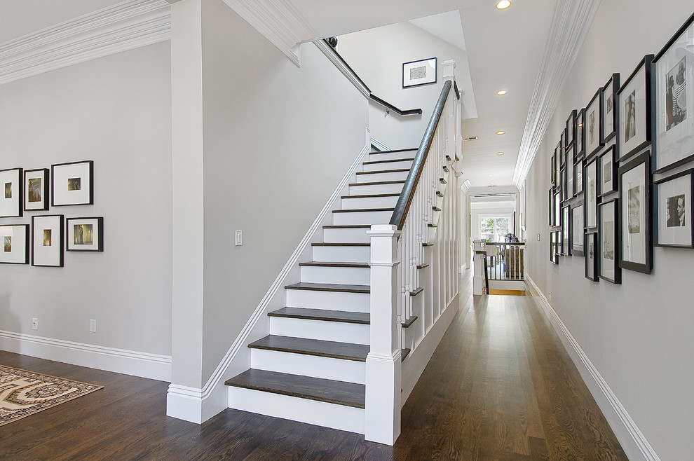 Inspiration for a timeless wooden staircase remodel in San Francisco