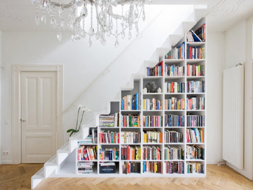 Image result for bookshelf staircase