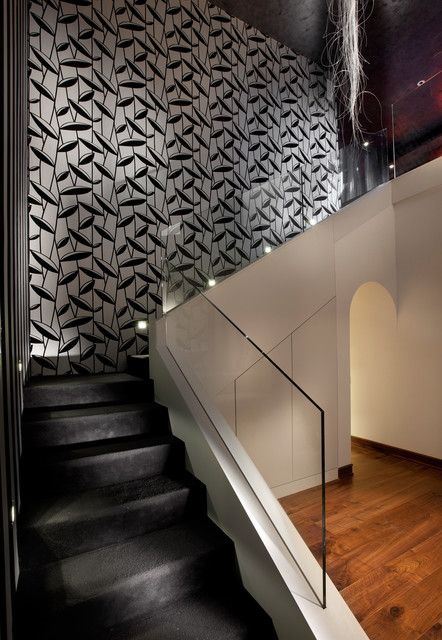 Example of a minimalist l-shaped staircase design in Other