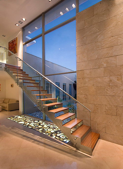 modern staircase Natural Works of Art: Agate in the Home