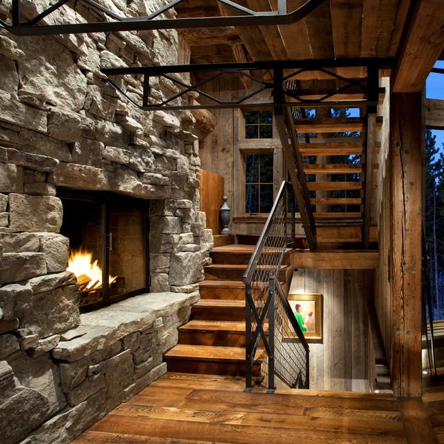 Bon Staircase Fireplace   Rustic   Staircase   Atlanta   By ...