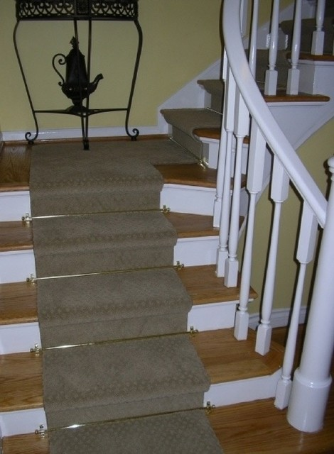 Staircase Renovation wood tread with carpet runner ...