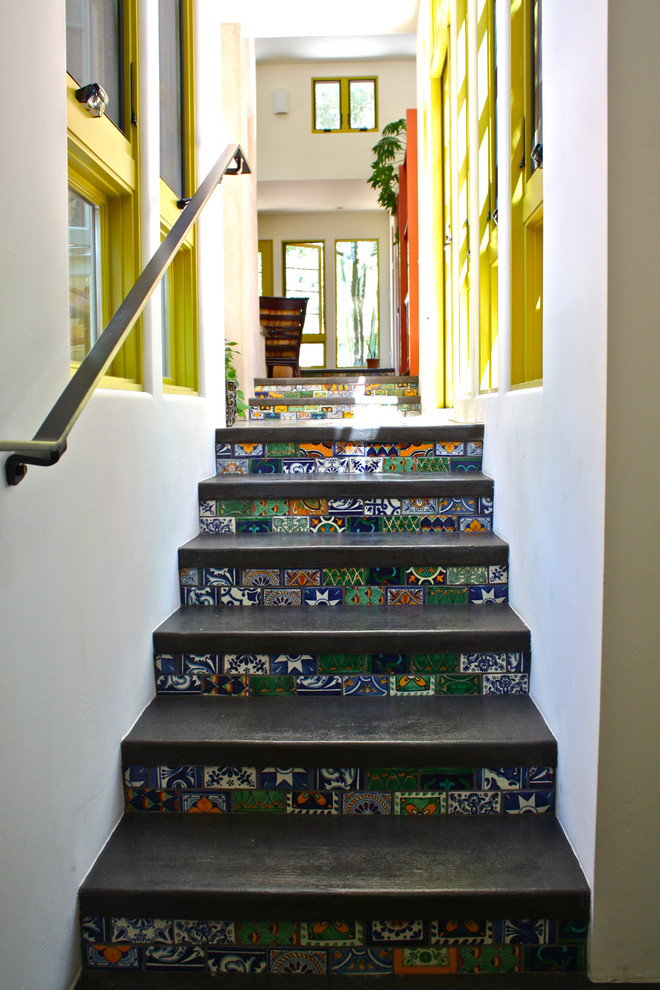 Inspiration for a southwestern staircase remodel in Santa Barbara