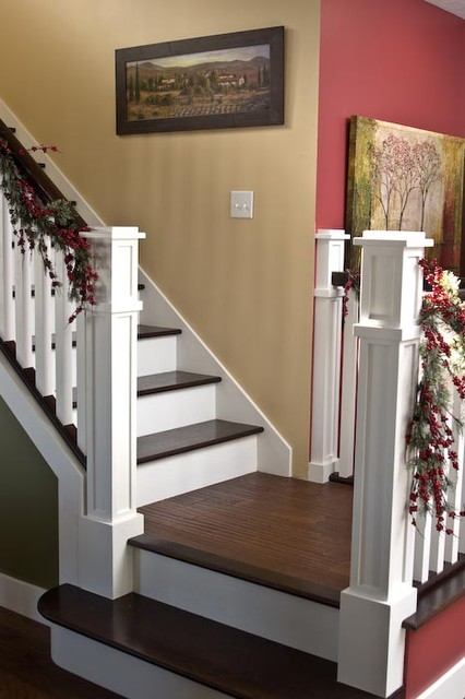 Inspiration for a craftsman staircase remodel in Indianapolis