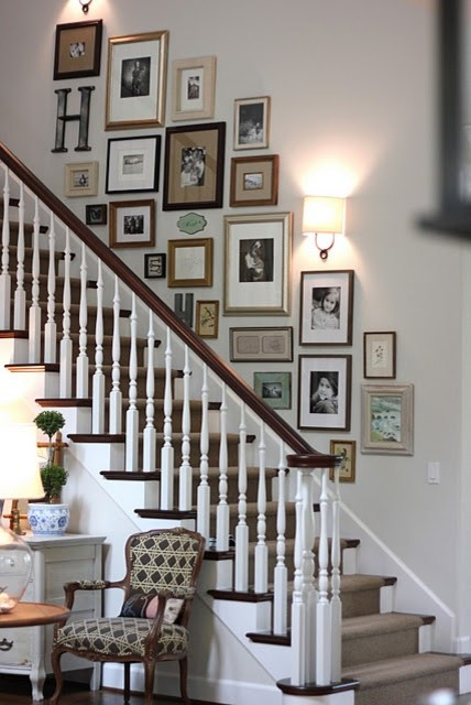 Staircase Wall Decorating Ideas Eclectic
