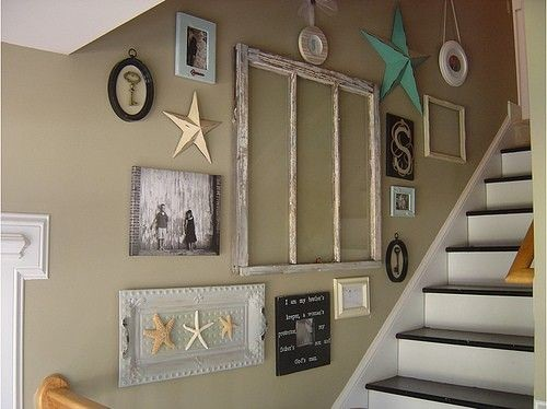 staircase wall decorating ideas - Beach Style - Staircase - Other ...