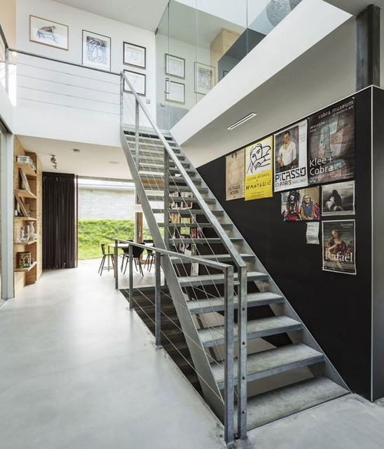 staircase wall decorating ideas industrial staircase other metro