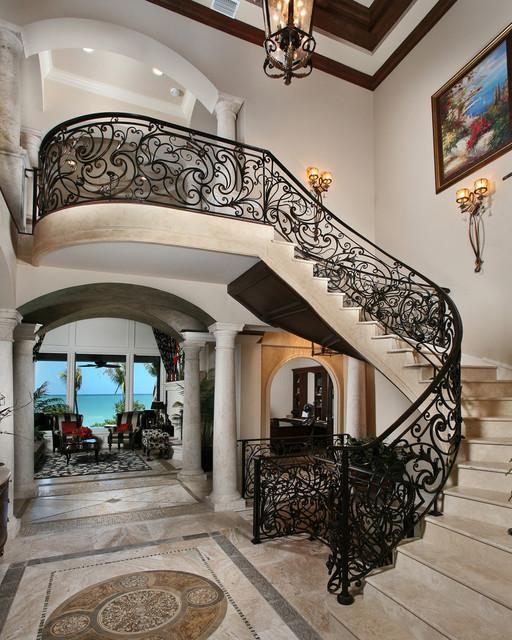 luxury mediterranean staircase miami by weber design