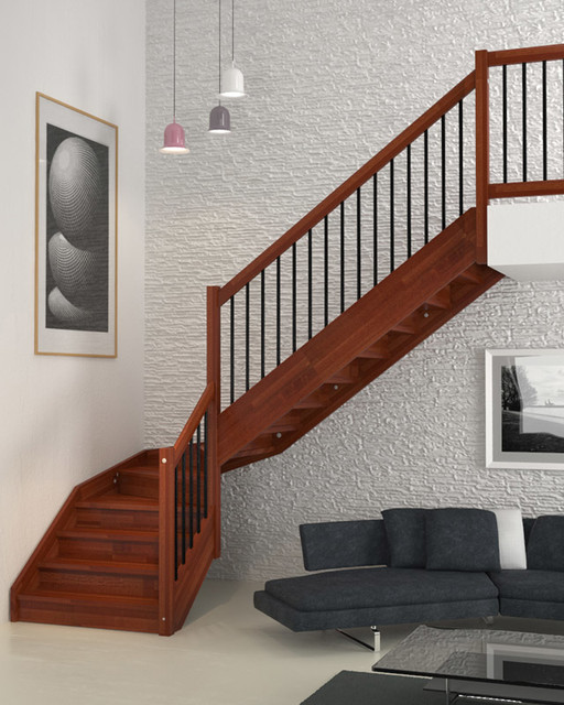 Staircases with wood stringers
