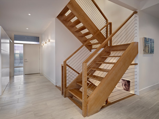 Stairs And Foyer Modern Staircase Edmonton By