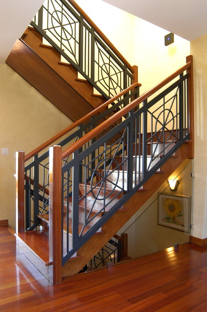 Stairs and Railing and Foyer By Heartwood Corp. eclectic-staircase