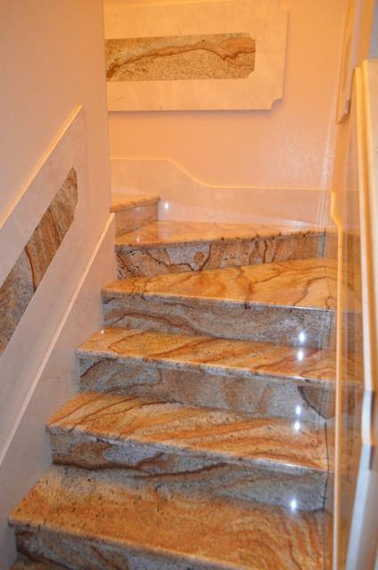 stairs marble/granite - Mediterranean - Staircase - tampa ...