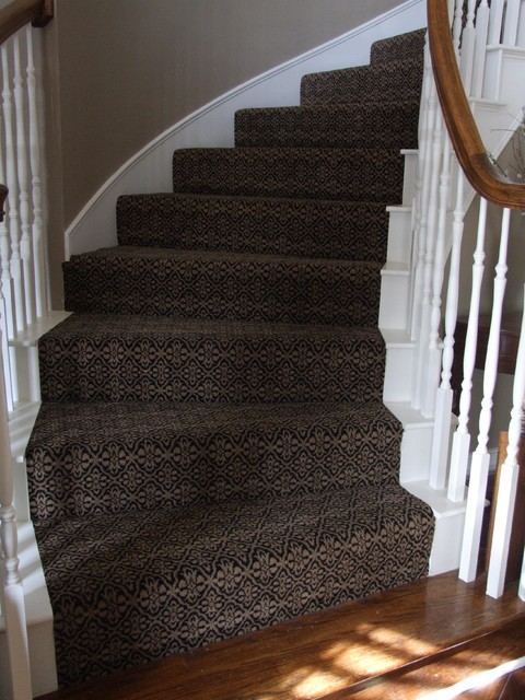 Traditional Staircase on Carpet Dye Before And After