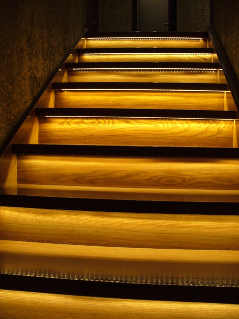 Stairs With White LED Lights