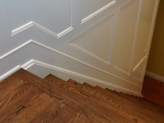 Stairway with wall paneling