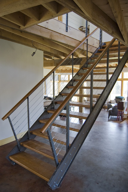 steel and cherry stair modern staircase