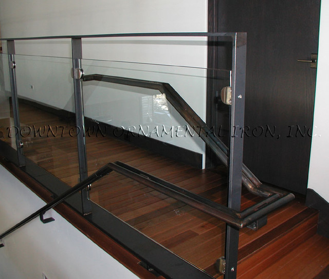 Steel and Glass Railing modern-staircase