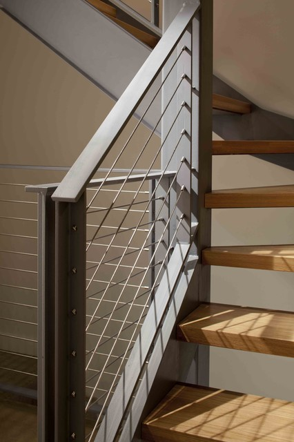 Steel Cable Rail And Wood Stairs Contemporary