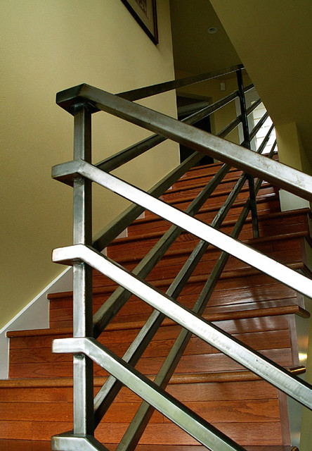 Steel Railing eclectic-staircase